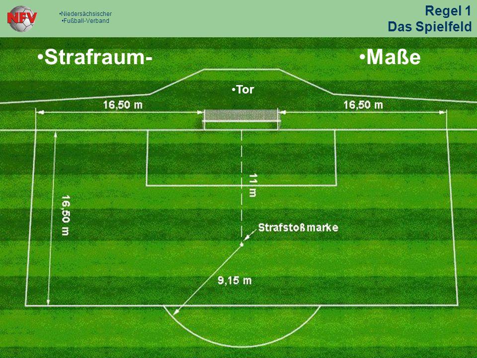 Strafraum - Maß e Tor Strafraum - Maß e Tor Pfosten- und Lattenform: 10-12 cm im Durchmesser Tor Höhe, bis Unterkante Latte.
