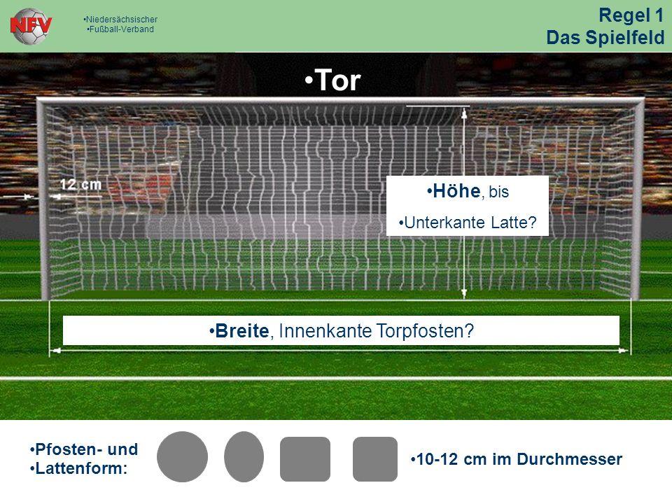 Strafraum - Maß e Tor Strafraum - Maß e Tor Pfosten- und Lattenform: 10-12 cm im Durchmesser Tor Breite, Innenkante Torpfosten.