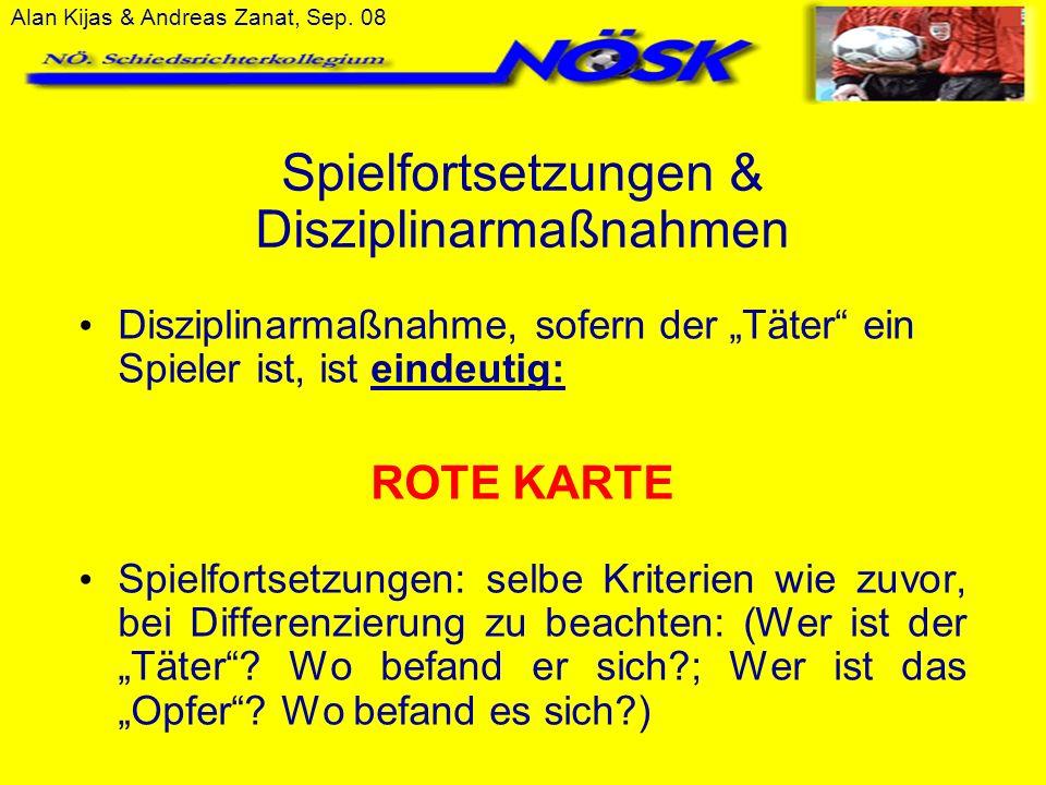 Alan Kijas & Andreas Zanat, Sep. 08 Spielfortsetzungen & Disziplinarmaßnahmen Disziplinarmaßnahme, sofern der Täter ein Spieler ist, ist eindeutig: RO