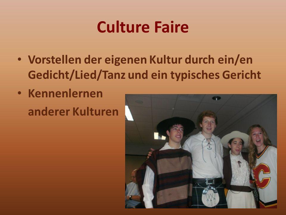Culture Faire Vorstellen der eigenen Kultur durch ein/en Gedicht/Lied/Tanz und ein typisches Gericht Kennenlernen anderer Kulturen