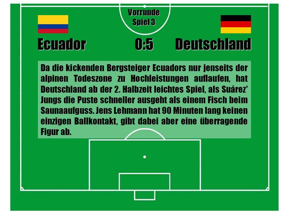 Da die kickenden Bergsteiger Ecuadors nur jenseits der alpinen Todeszone zu Hochleistungen auflaufen, hat Deutschland ab der 2.