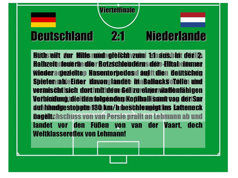 Durch den Fallrückzieher von Klose, nach Abschlag Lehmann, und das dritte Turniertor von Huth steht es nach 90 Minuten 1:1.