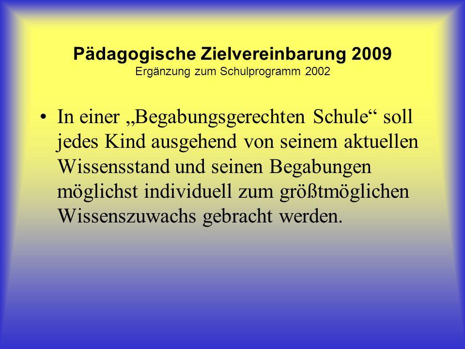 Pädagogische Zielvereinbarung 2009 Ergänzung zum Schulprogramm 2002 In einer Begabungsgerechten Schule soll jedes Kind ausgehend von seinem aktuellen Wissensstand und seinen Begabungen möglichst individuell zum größtmöglichen Wissenszuwachs gebracht werden.