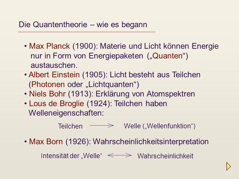 Die Quantentheorie – wie es begann Intensität der klassischen Lichtwelle Auftreff-Wahrscheinlichkeit für das einzelne Photon Doppelspaltexperiment mit einzelnen Photonen http://de.wikipedia.org /wiki/Doppelspaltexperiment