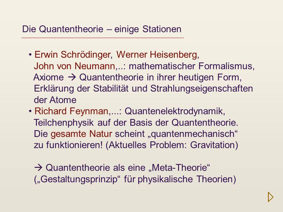 Quanteninformation John Bell (1960er), Alain Aspect (1970er), Anton Zeilinger (1990er, 2010er),...: Erneutes Interesse an den Grundlagen der Quantentheorie, neue technologische Anwendungen (Nichtlokalität, Quantenteleportation, Quantenkryptografie, Quantencomputer,...) Zentrale Idee: Überlagerung von Wellen Überlagerung von Möglichkeiten Was bedeutet das?