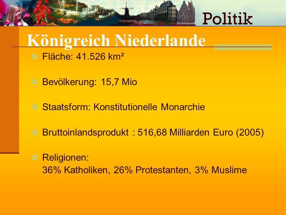 Königreich Niederlande Fläche: 41.526 km² Bevölkerung: 15,7 Mio Staatsform: Konstitutionelle Monarchie Bruttoinlandsprodukt : 516,68 Milliarden Euro (
