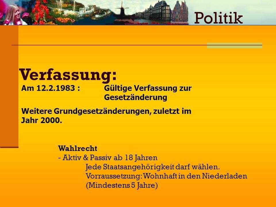 Verfassung: Am 12.2.1983 : Gültige Verfassung zur Gesetzänderung Weitere Grundgesetzänderungen, zuletzt im Jahr 2000. Wahlrecht - Aktiv & Passiv ab 18