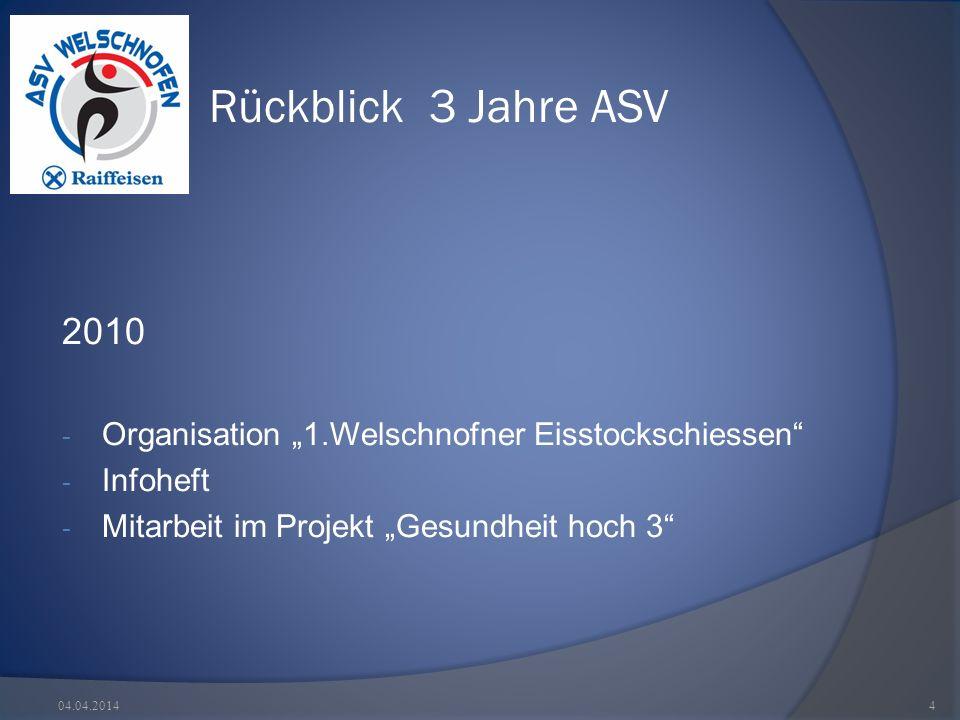 Rückblick 3 Jahre ASV 2010 - Organisation 1.Welschnofner Eisstockschiessen - Infoheft - Mitarbeit im Projekt Gesundheit hoch 3 04.04.20144