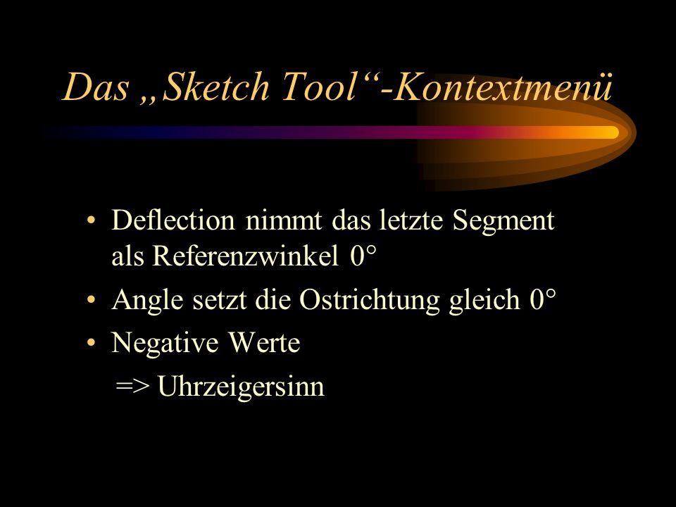 Das Sketch Tool-Kontextmenü Deflection nimmt das letzte Segment als Referenzwinkel 0° Angle setzt die Ostrichtung gleich 0° Negative Werte => Uhrzeigersinn
