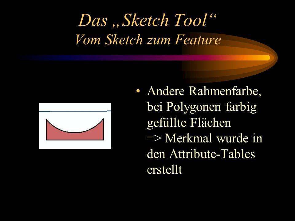 Das Sketch Tool Vom Sketch zum Feature Andere Rahmenfarbe, bei Polygonen farbig gefüllte Flächen => Merkmal wurde in den Attribute-Tables erstellt