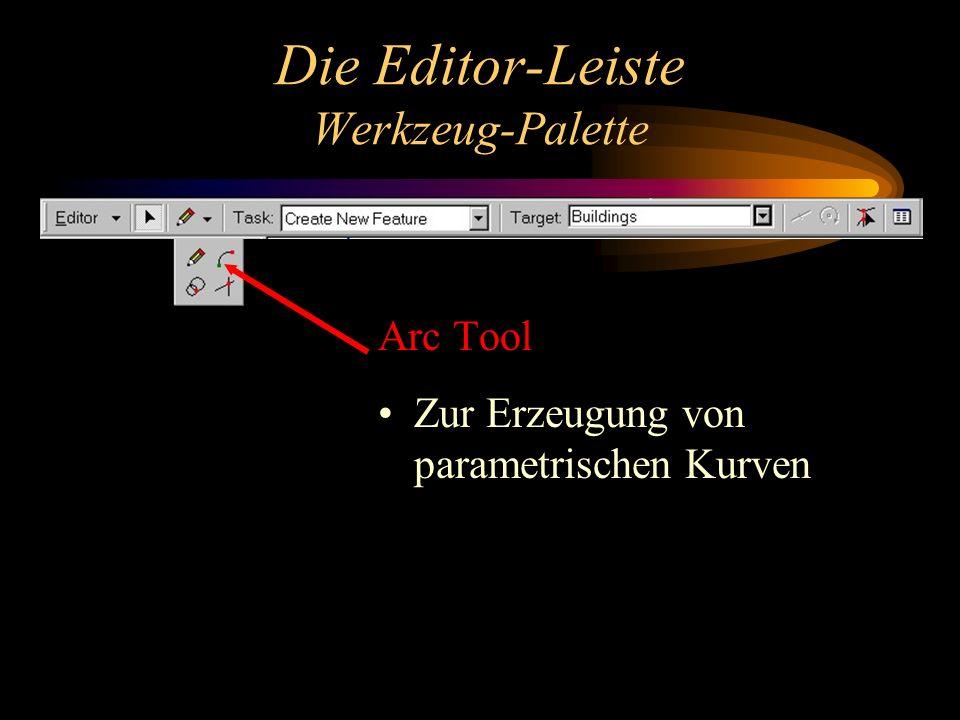Die Editor-Leiste Werkzeug-Palette Arc Tool Zur Erzeugung von parametrischen Kurven