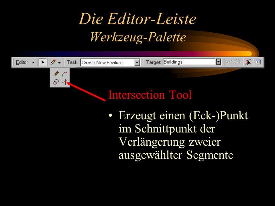 Die Editor-Leiste Werkzeug-Palette Intersection Tool Erzeugt einen (Eck-)Punkt im Schnittpunkt der Verlängerung zweier ausgewählter Segmente