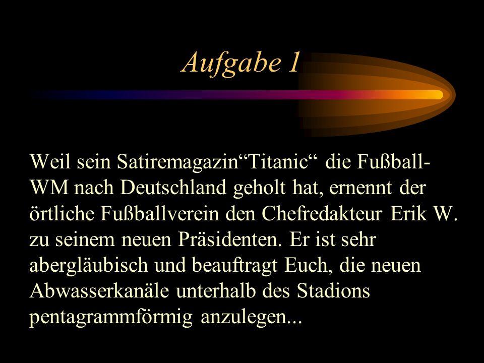 Aufgabe 1 Weil sein SatiremagazinTitanic die Fußball- WM nach Deutschland geholt hat, ernennt der örtliche Fußballverein den Chefredakteur Erik W.