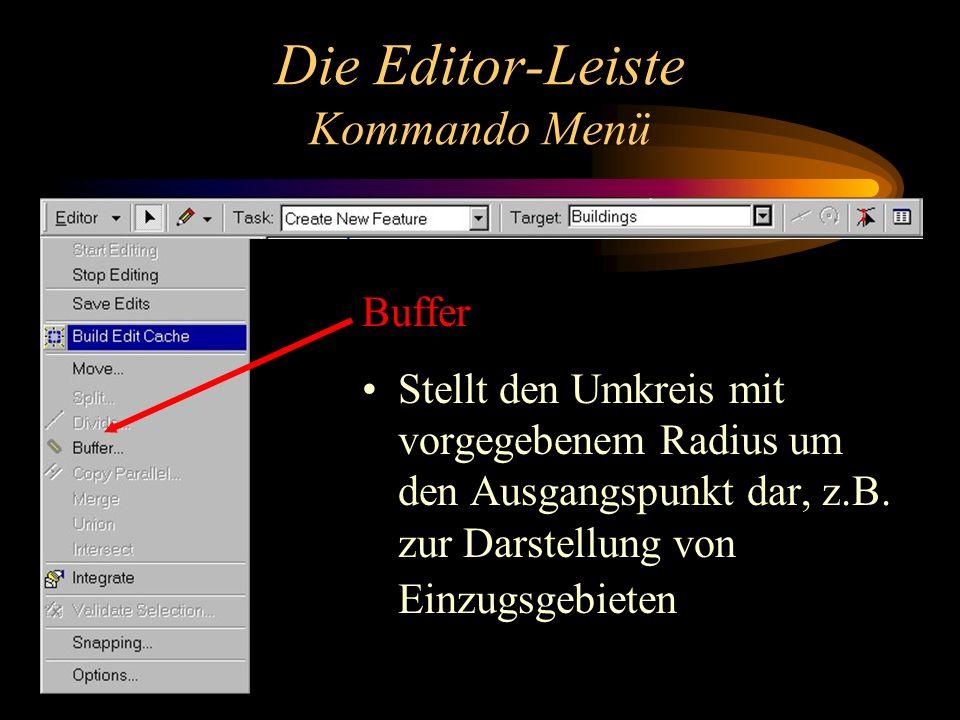 Die Editor-Leiste Kommando Menü Buffer Stellt den Umkreis mit vorgegebenem Radius um den Ausgangspunkt dar, z.B.