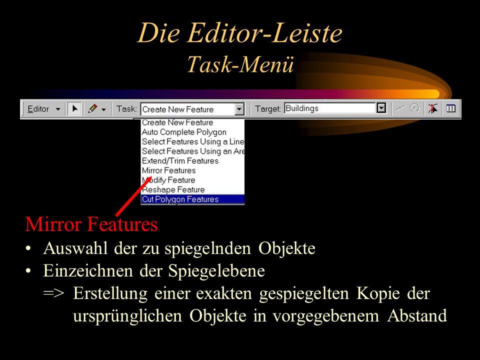 Die Editor-Leiste Task-Menü Mirror Features Auswahl der zu spiegelnden Objekte Einzeichnen der Spiegelebene => Erstellung einer exakten gespiegelten Kopie der ursprünglichen Objekte in vorgegebenem Abstand
