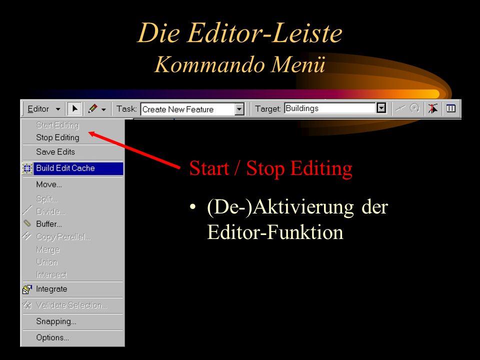 Die Editor-Leiste Kommando Menü Start / Stop Editing (De-)Aktivierung der Editor-Funktion