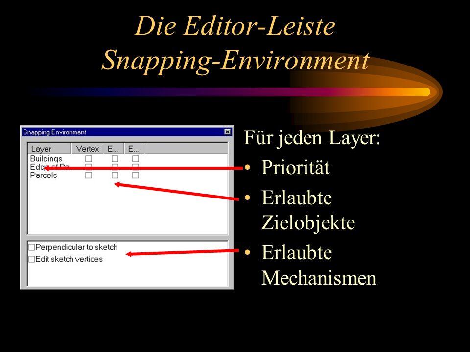 Die Editor-Leiste Snapping-Environment Für jeden Layer: Priorität Erlaubte Zielobjekte Erlaubte Mechanismen