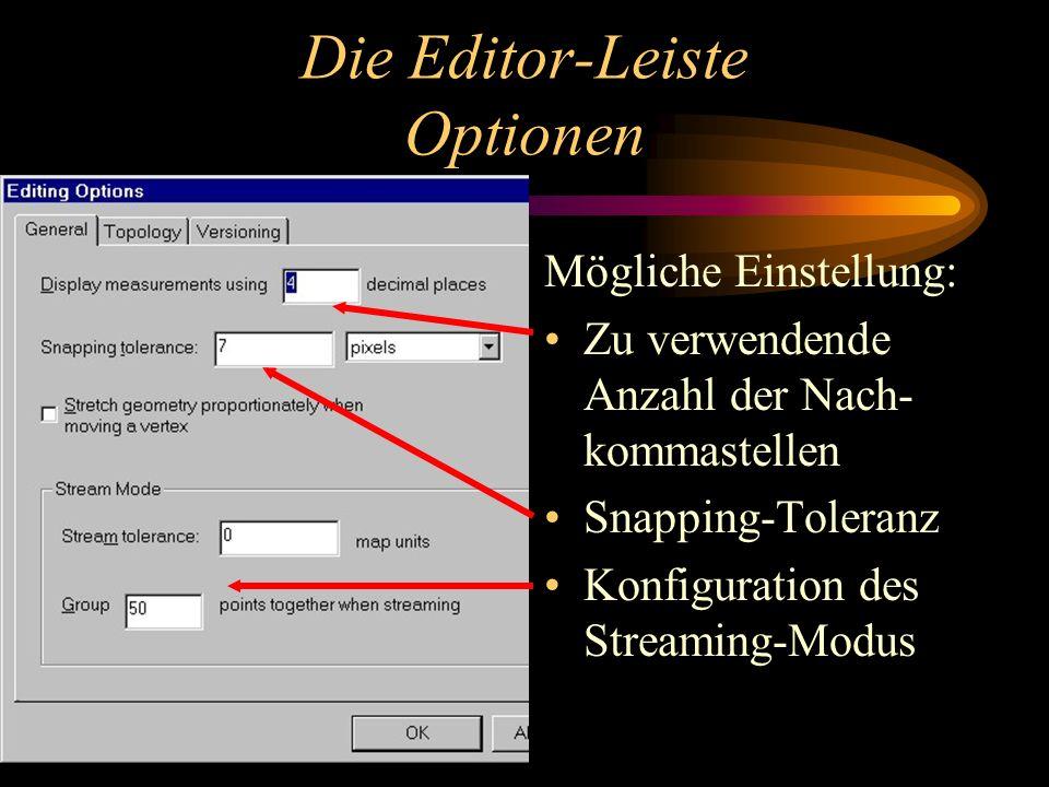 Die Editor-Leiste Optionen Mögliche Einstellung: Zu verwendende Anzahl der Nach- kommastellen Snapping-Toleranz Konfiguration des Streaming-Modus