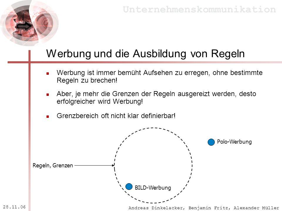 Andreas Dinkelacker, Benjamin Fritz, Alexander Müller Unternehmenskommunikation 28.11.06 Werbung und die Ausbildung von Regeln Werbung ist immer bemüh