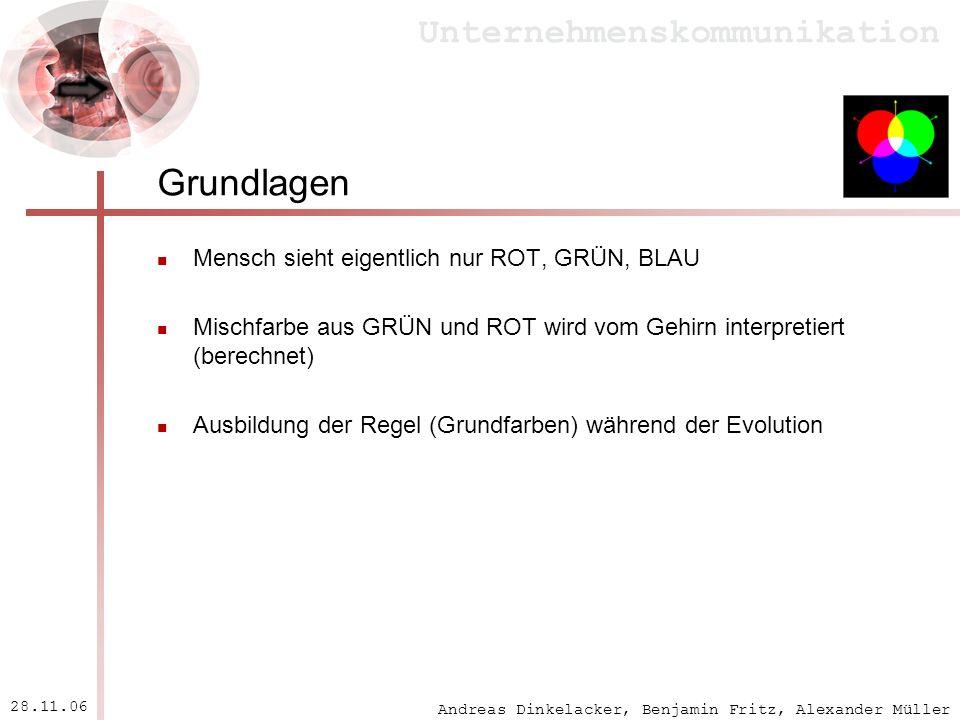 Andreas Dinkelacker, Benjamin Fritz, Alexander Müller Unternehmenskommunikation 28.11.06 Grundlagen Mensch sieht eigentlich nur ROT, GRÜN, BLAU Mischf