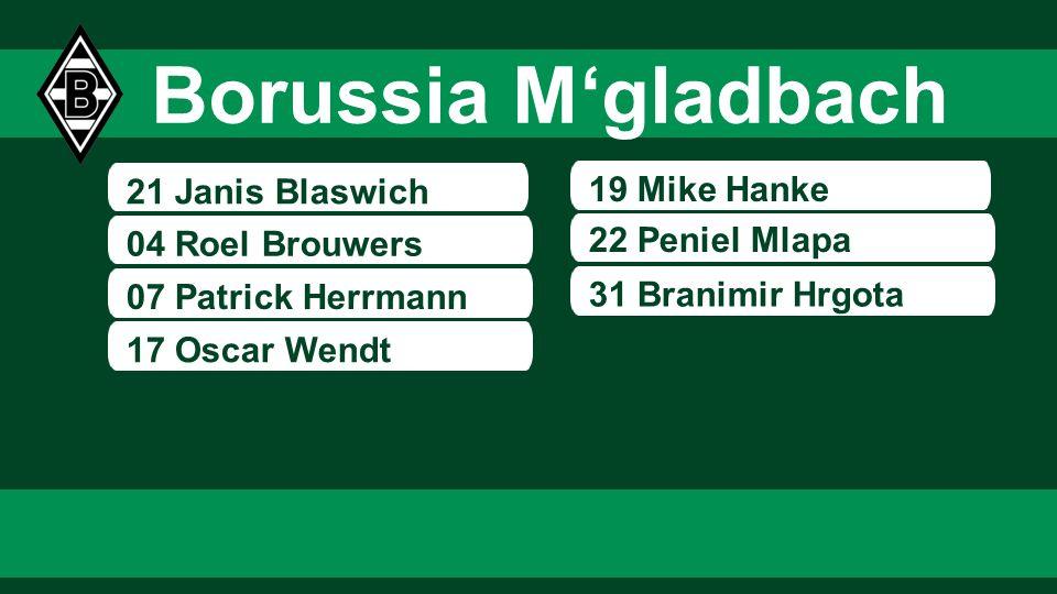 21 Janis Blaswich 04 Roel Brouwers 07 Patrick Herrmann 19 Mike Hanke 22 Peniel Mlapa 17 Oscar Wendt 31 Branimir Hrgota Borussia Mgladbach