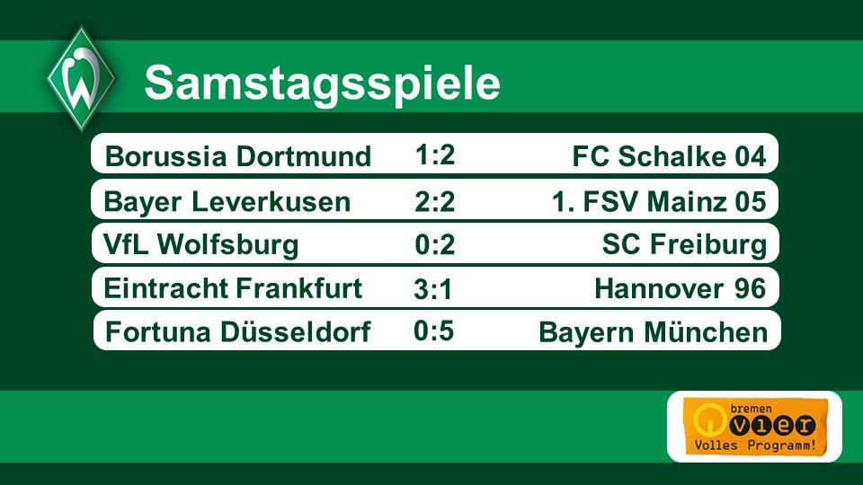 FC Schalke 04 1. FSV Mainz 05 Bayer Leverkusen VfL Wolfsburg SC Freiburg Eintracht Frankfurt - 1:2 Hannover 96 Samstagsspiele 2:2 0:2 Borussia Dortmun