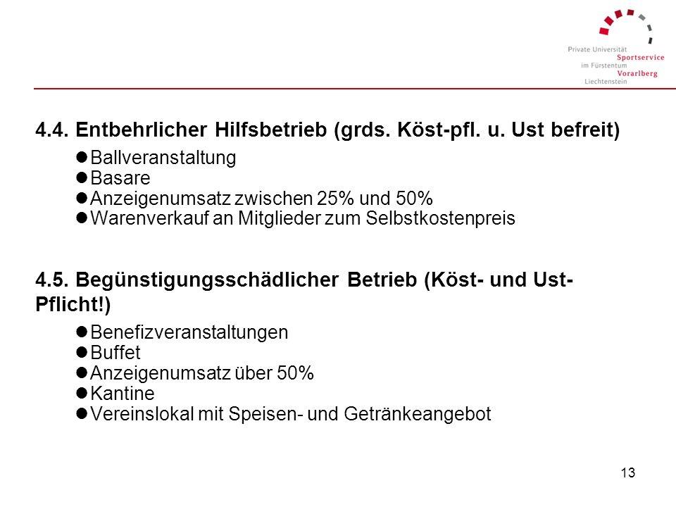 12 4.) Vereinstätigkeiten 4.1. Vereinsbereich lMitgliedsbeiträge (höchstens 1.800,-- bzw. kostenintens. V. 9.000,--) lSpenden lWeihnachtskartenaktion