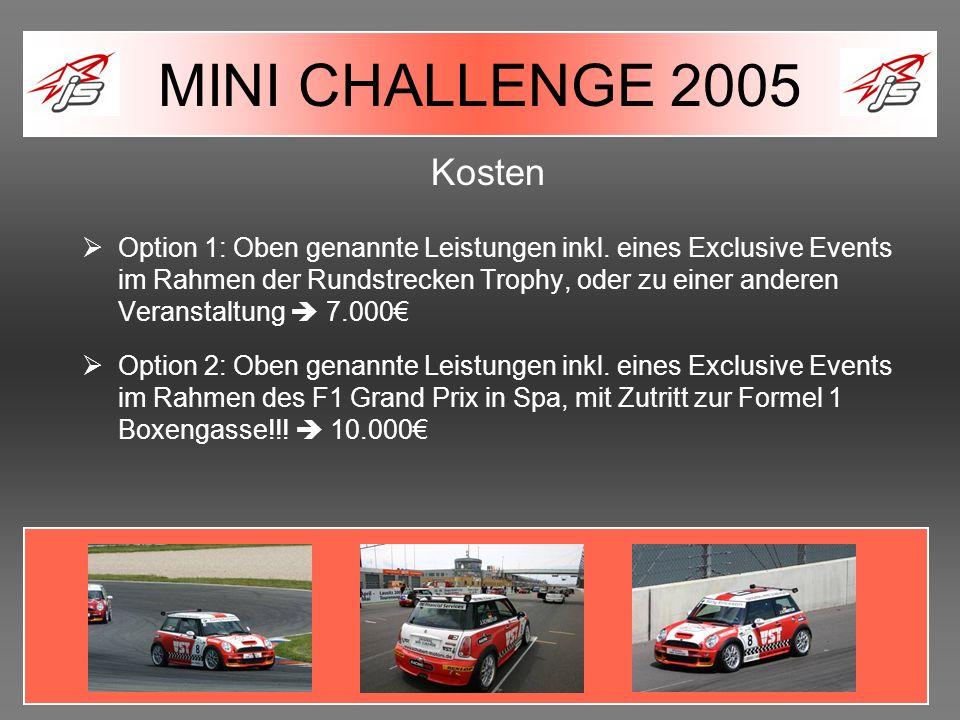 Kosten Option 1: Oben genannte Leistungen inkl. eines Exclusive Events im Rahmen der Rundstrecken Trophy, oder zu einer anderen Veranstaltung 7.000 Op