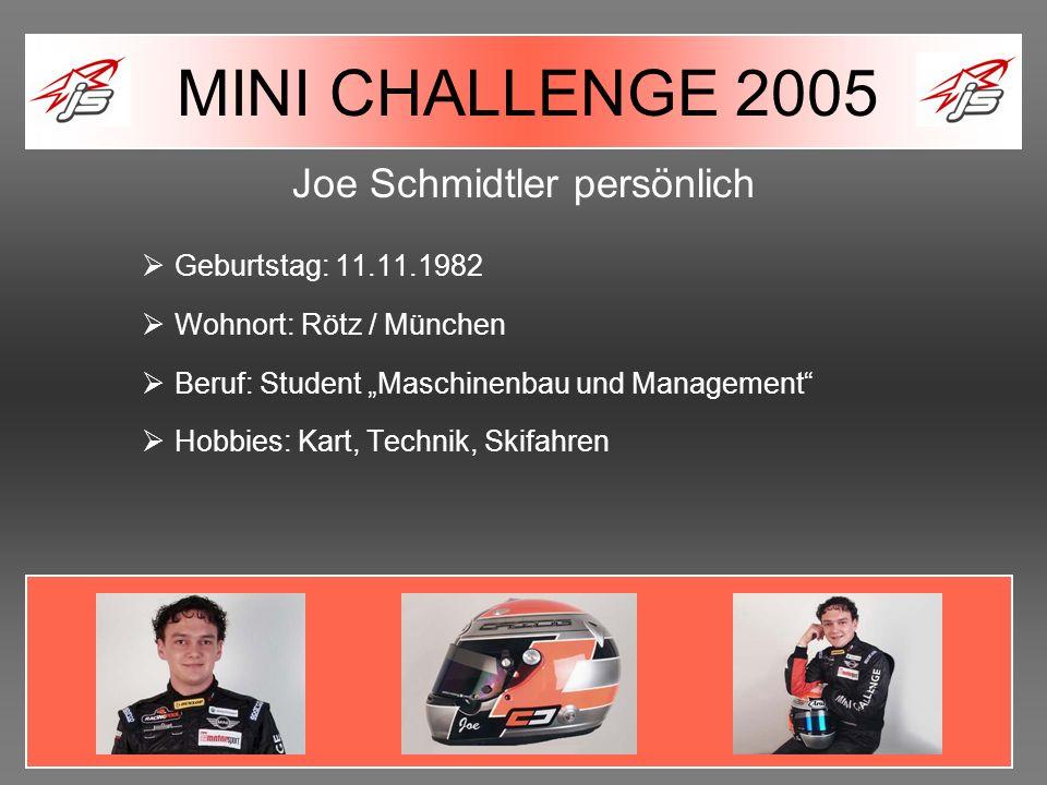 Joe Schmidtler persönlich Geburtstag: 11.11.1982 Wohnort: Rötz / München Beruf: Student Maschinenbau und Management Hobbies: Kart, Technik, Skifahren