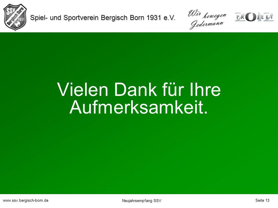 Spiel- und Sportverein Bergisch Born 1931 e.V. Wir bewegen Jedermann www.ssv.bergisch-born.de Neujahrsempfang SSV Vielen Dank für Ihre Aufmerksamkeit.