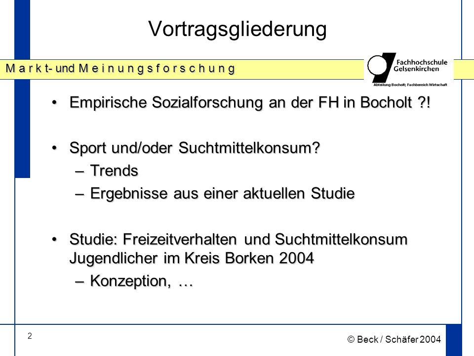 2 M a r k t- und M e i n u n g s f o r s c h u n g © Beck / Schäfer 2004 Vortragsgliederung Empirische Sozialforschung an der FH in Bocholt !Empirische Sozialforschung an der FH in Bocholt .