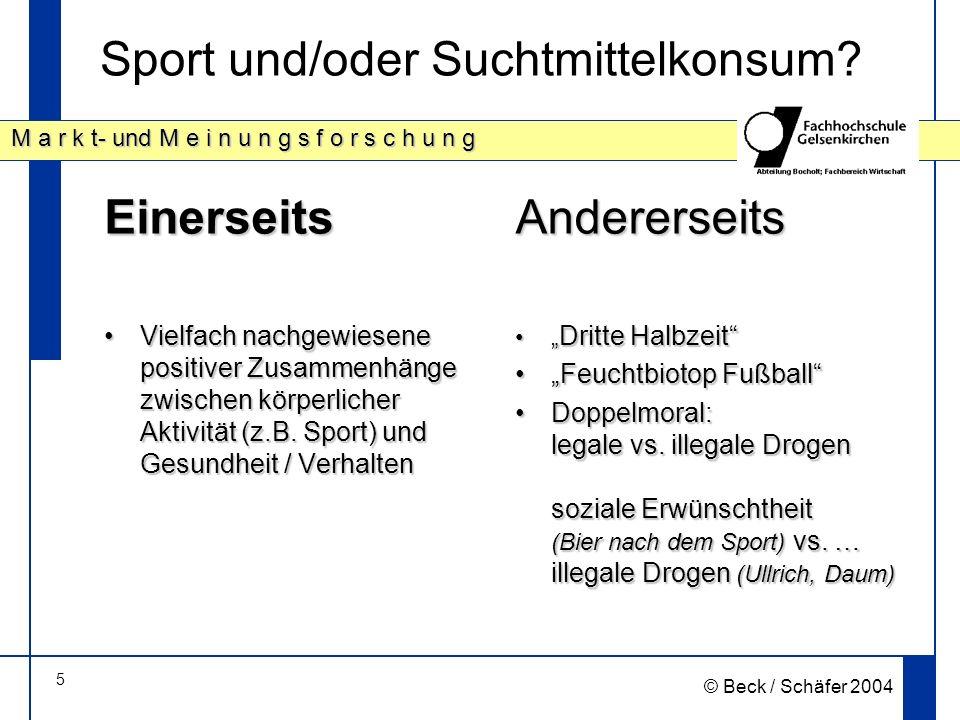 5 M a r k t- und M e i n u n g s f o r s c h u n g © Beck / Schäfer 2004 Sport und/oder Suchtmittelkonsum.