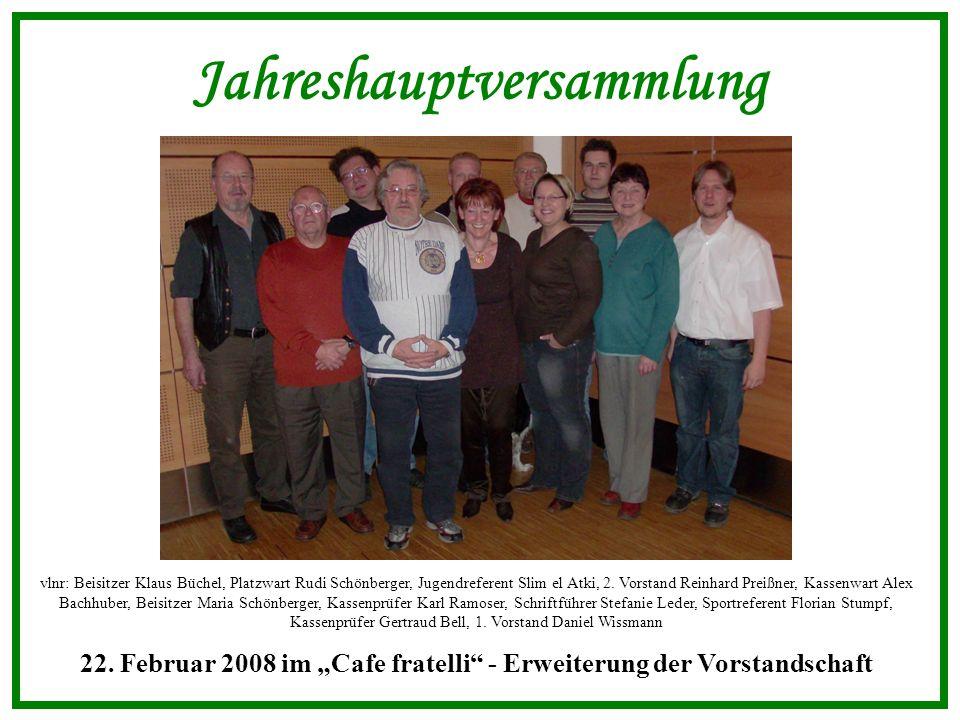 Jahreshauptversammlung vlnr: Beisitzer Klaus Büchel, Platzwart Rudi Schönberger, Jugendreferent Slim el Atki, 2.