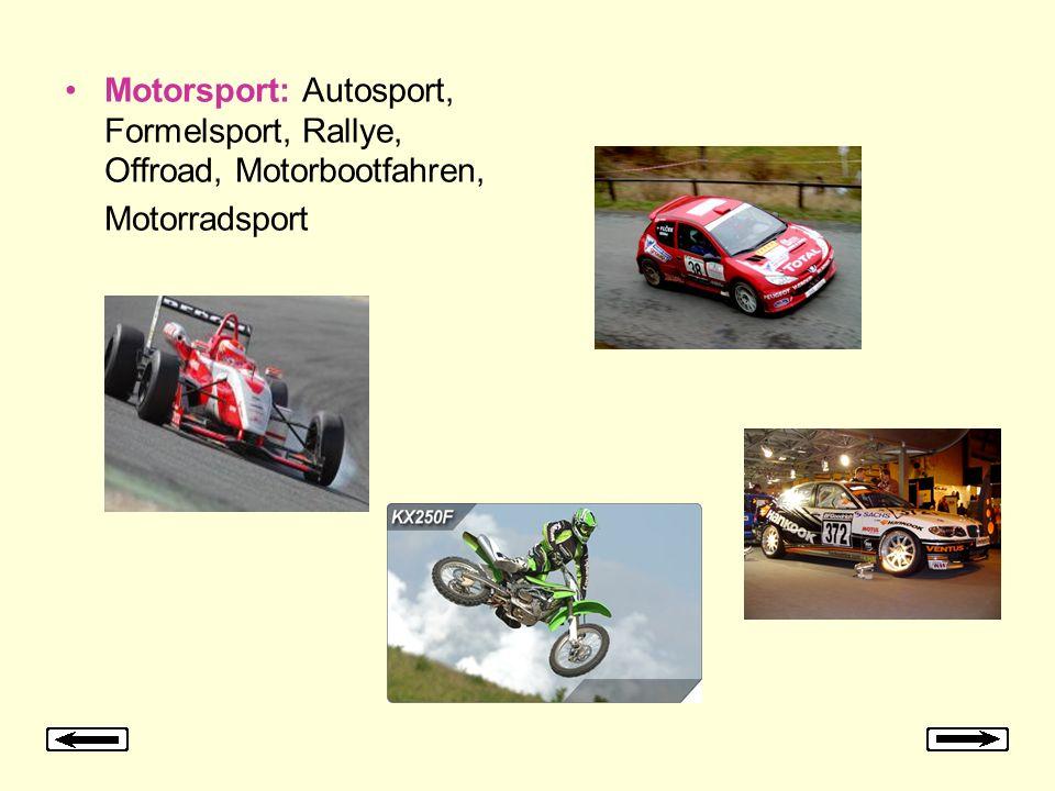 Motorsport: Autosport, Formelsport, Rallye, Offroad, Motorbootfahren, Motorradsport