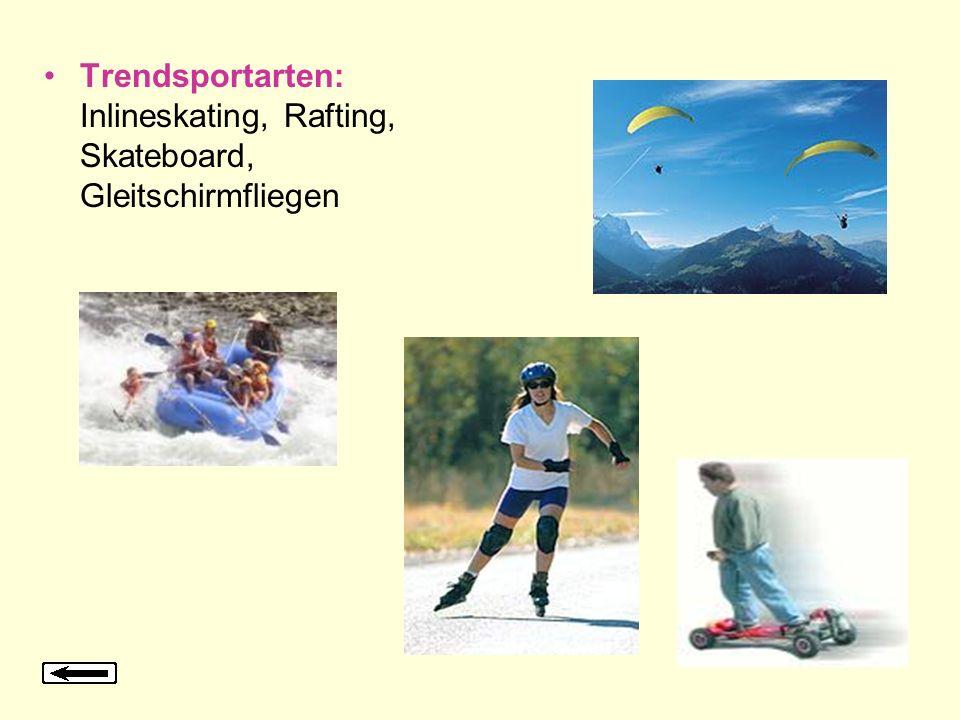 Trendsportarten: Inlineskating, Rafting, Skateboard, Gleitschirmfliegen