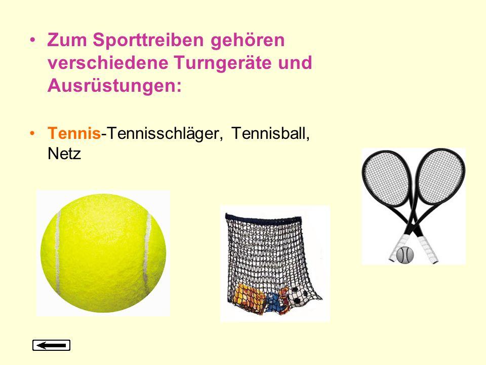 Zum Sporttreiben gehören verschiedene Turngeräte und Ausrüstungen: Tennis-Tennisschläger, Tennisball, Netz
