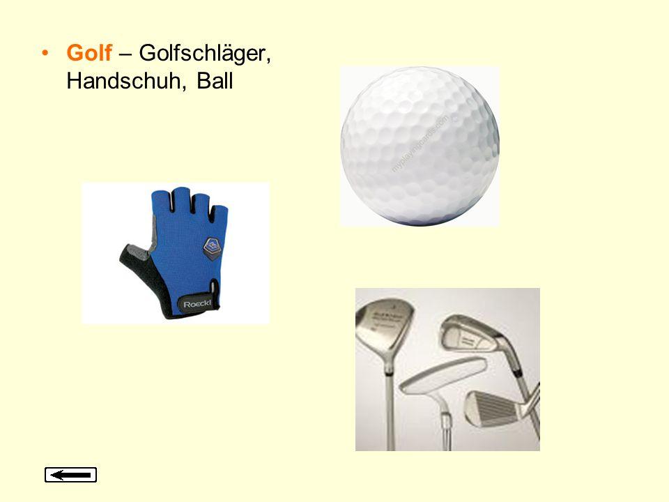 Golf – Golfschläger, Handschuh, Ball