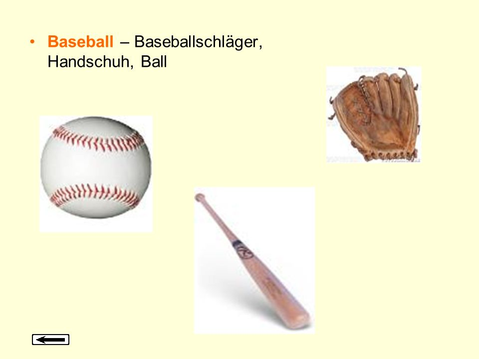 Baseball – Baseballschläger, Handschuh, Ball