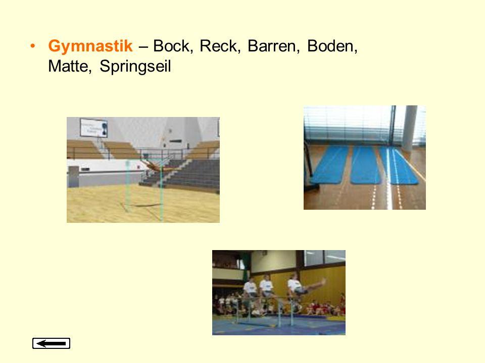 Gymnastik – Bock, Reck, Barren, Boden, Matte, Springseil