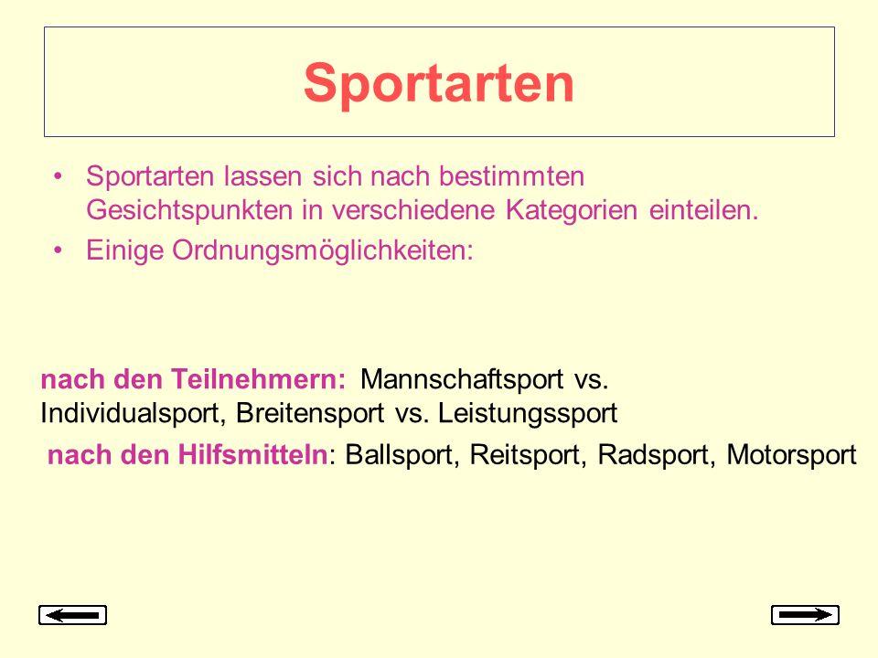 Sportarten Sportarten lassen sich nach bestimmten Gesichtspunkten in verschiedene Kategorien einteilen. Einige Ordnungsmöglichkeiten: nach den Teilneh