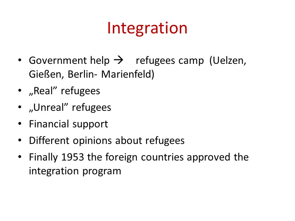Integration Government help refugees camp (Uelzen, Gießen, Berlin- Marienfeld) Real refugees Unreal refugees Financial support Different opinions abou