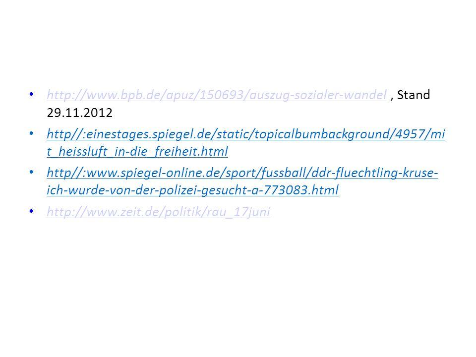 http://www.bpb.de/apuz/150693/auszug-sozialer-wandel, Stand 29.11.2012 http://www.bpb.de/apuz/150693/auszug-sozialer-wandel http//:einestages.spiegel.