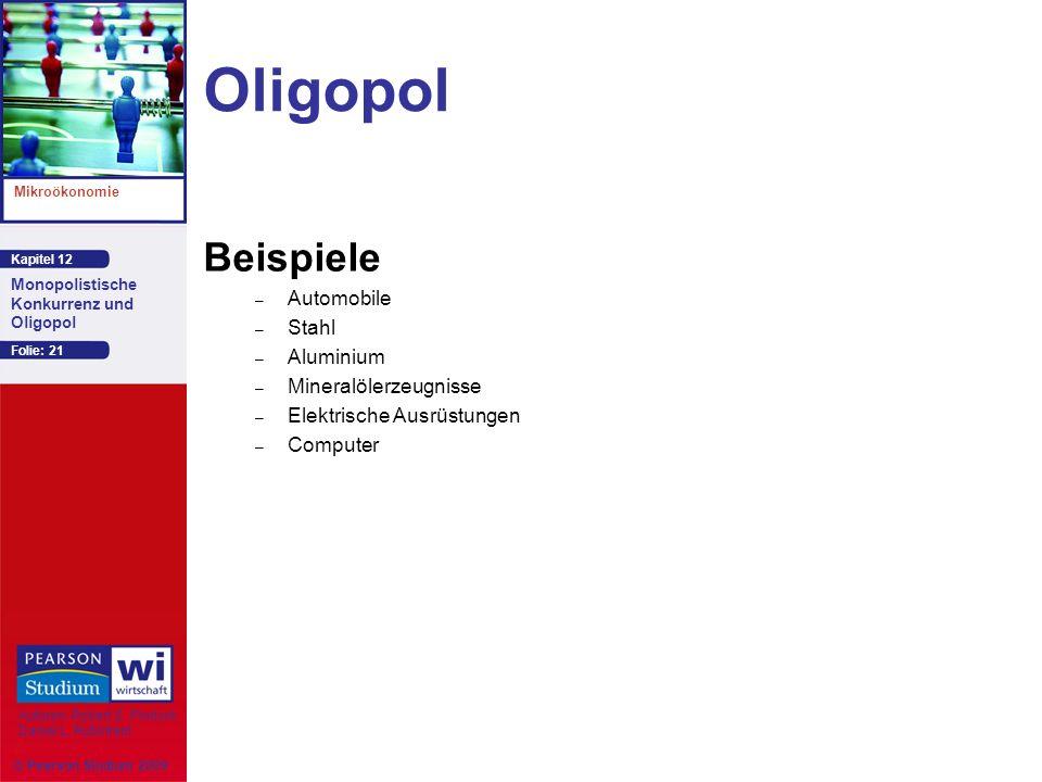 Kapitel 12 Mikroökonomie Autoren: Robert S. Pindyck Daniel L. Rubinfeld Monopolistische Konkurrenz und Oligopol © Pearson Studium 2009 Folie: 21 Oligo