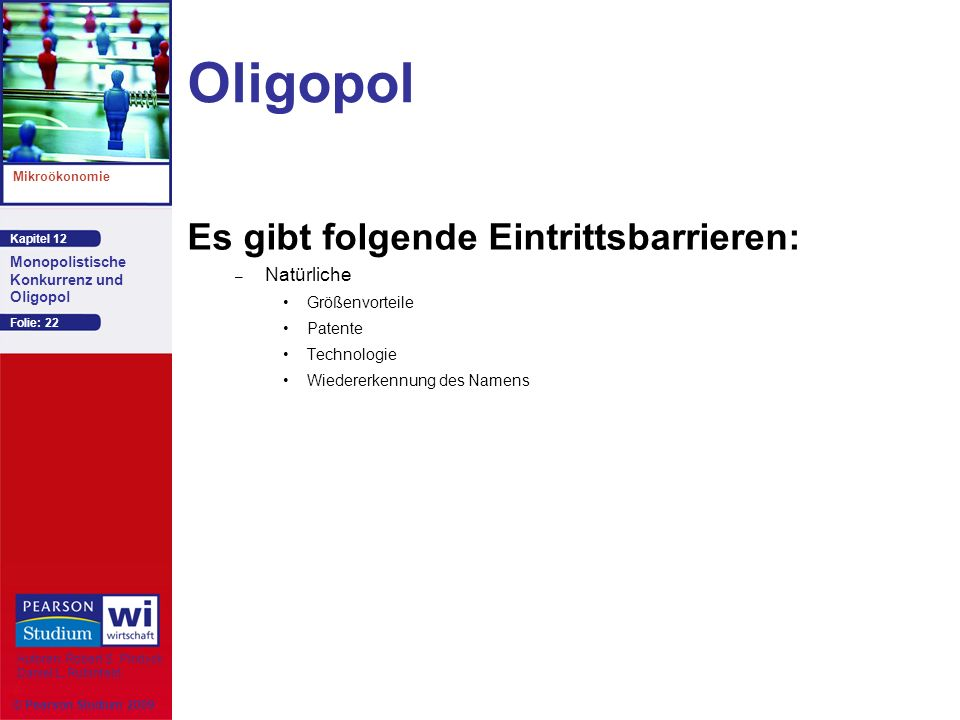 Kapitel 12 Mikroökonomie Autoren: Robert S. Pindyck Daniel L. Rubinfeld Monopolistische Konkurrenz und Oligopol © Pearson Studium 2009 Folie: 22 Oligo