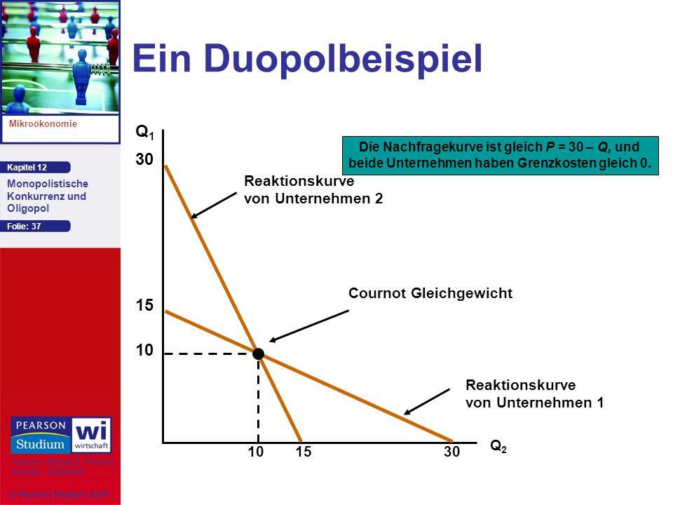 Kapitel 12 Mikroökonomie Autoren: Robert S. Pindyck Daniel L. Rubinfeld Monopolistische Konkurrenz und Oligopol © Pearson Studium 2009 Folie: 37 Ein D