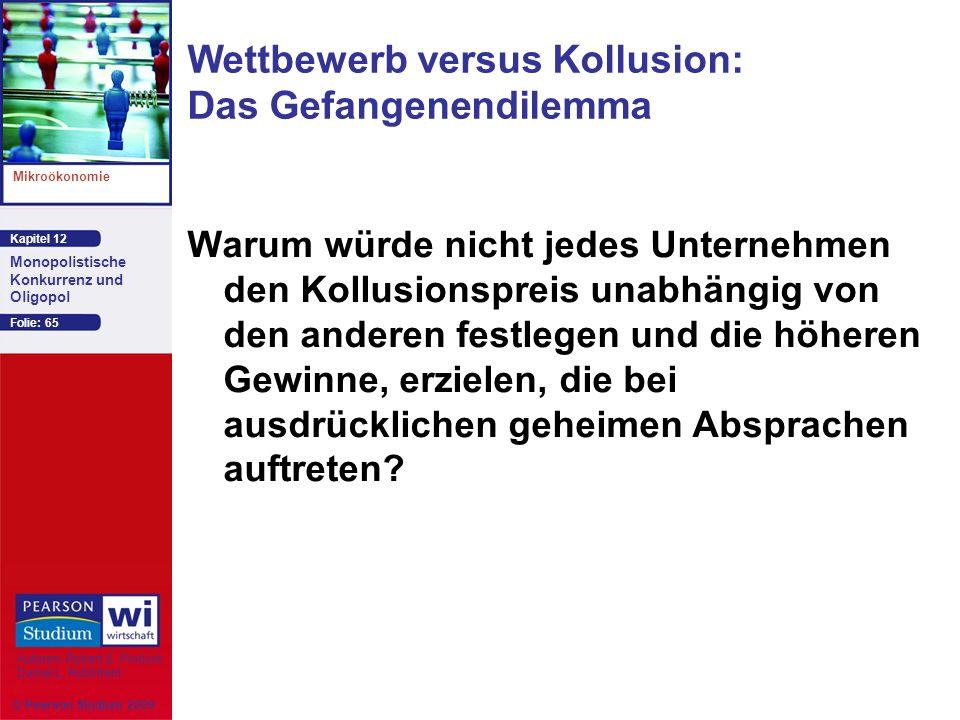 Kapitel 12 Mikroökonomie Autoren: Robert S. Pindyck Daniel L. Rubinfeld Monopolistische Konkurrenz und Oligopol © Pearson Studium 2009 Folie: 65 Wettb