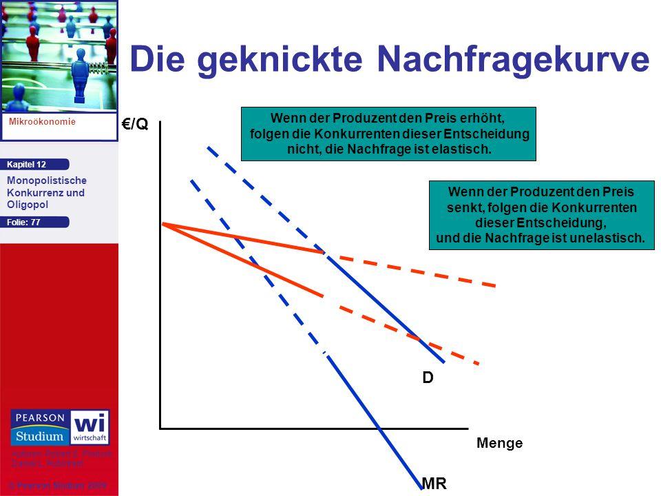 Kapitel 12 Mikroökonomie Autoren: Robert S. Pindyck Daniel L. Rubinfeld Monopolistische Konkurrenz und Oligopol © Pearson Studium 2009 Folie: 77 Die g