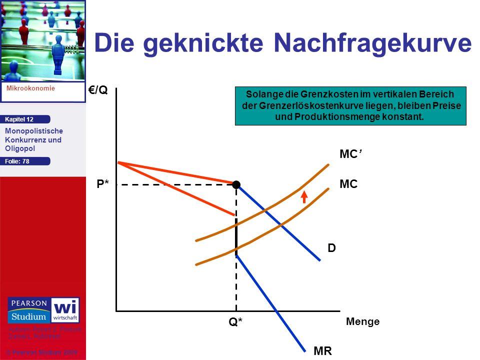 Kapitel 12 Mikroökonomie Autoren: Robert S. Pindyck Daniel L. Rubinfeld Monopolistische Konkurrenz und Oligopol © Pearson Studium 2009 Folie: 78 Die g