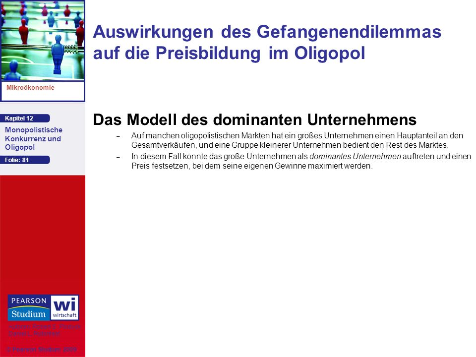 Kapitel 12 Mikroökonomie Autoren: Robert S. Pindyck Daniel L. Rubinfeld Monopolistische Konkurrenz und Oligopol © Pearson Studium 2009 Folie: 81 Auswi