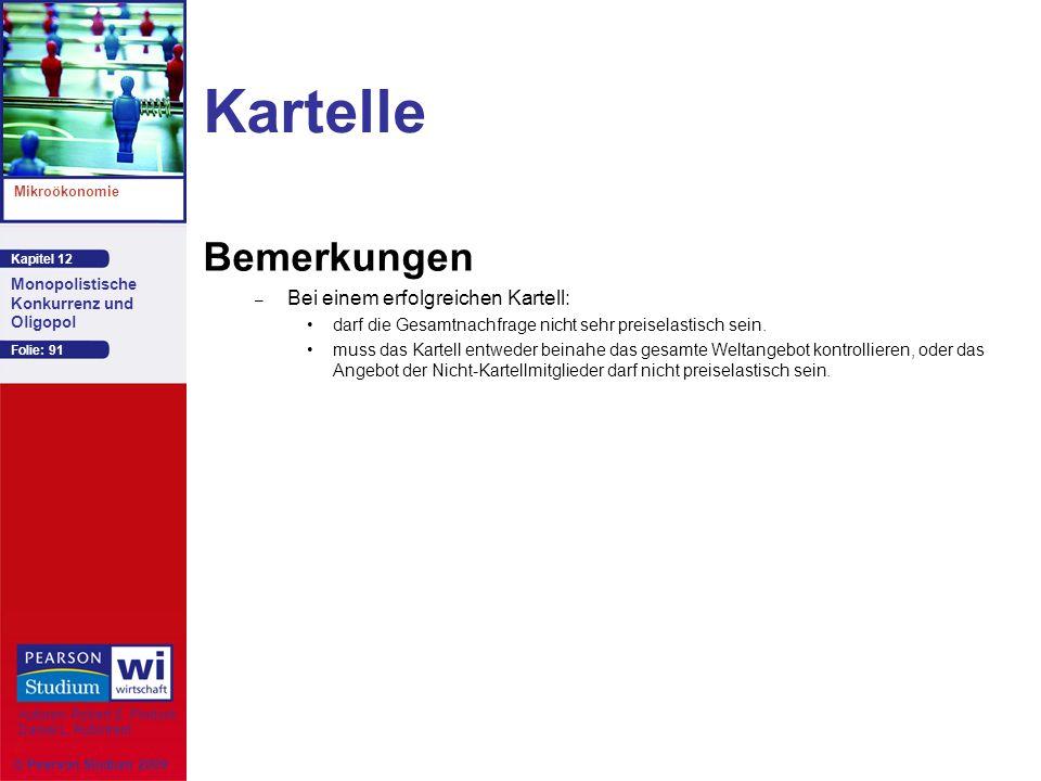 Kapitel 12 Mikroökonomie Autoren: Robert S. Pindyck Daniel L. Rubinfeld Monopolistische Konkurrenz und Oligopol © Pearson Studium 2009 Folie: 91 Karte